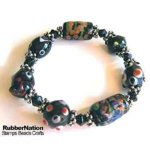 Glass & Bali Style Beads Bracelet Black Arts, Crafts & Sewing