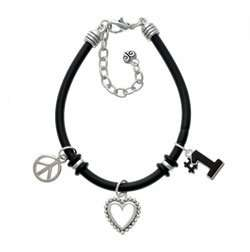 Black #1 Black Peace Love Charm Bracelet [Jewelry] Jewelry