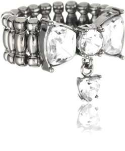 Betsey Johnson Iconic Crystal Bow Stretch Ring Jewelry