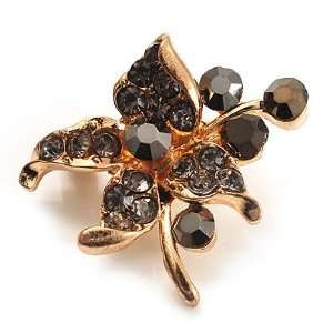 Tiny Black Crystal Flower Pin Brooch (Gold Tone) Jewelry