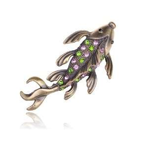 Tone Plated Crystal Rhinestone Koi Fish Animal Pin Brooch Jewelry