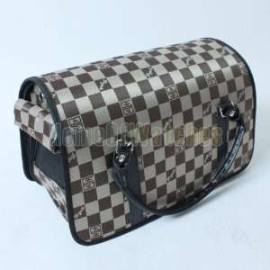 Checked Pet Dog Cat Travel Carrier Hard Base PORTABLE Pet Carrier
