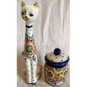 Polish Pottery Gift Set 9 High Cat Statue Figurine Matching Lidded