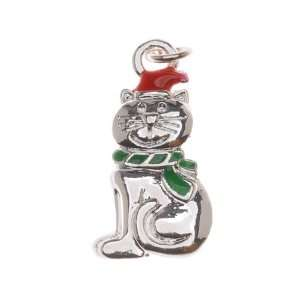 Silver Plated Enamel Charm Christmas Kitty Cat With Santa