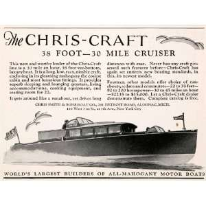 1929 Ad Antique Chris Craft 38 Foot Boat Yacht Horsepower
