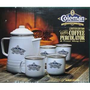 Coleman Limited Edition Enamel Coffee Percolator & Four Mug Set White