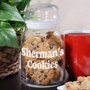 Engraved Any Message Glass Cookie Jar