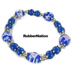 Glass & Silver Bali Bead Bracelet PINK BLUE 245 Arts, Crafts & Sewing