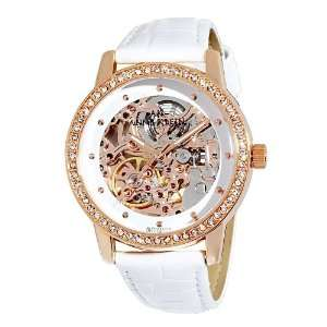 Swarovski Crystal Accented Rose Gold Tone Leather Watch Watches