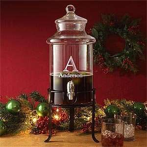 Personalized Holiday Glass Beverage Dispenser Kitchen & Dining