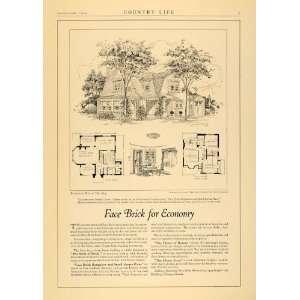 1924 Ad American Face Brick Dutch Colonial Floor Plan   Original Print