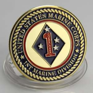 USMC 1st Marine Division Gold plated Challenge Coin 668