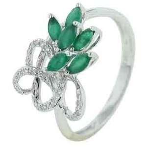 14K White Gold Emerald Diamond Ring Diamond quality AA (I1