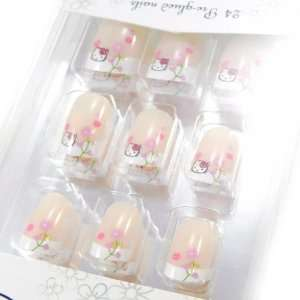 Board false nails Hello Kitty french manicure.
