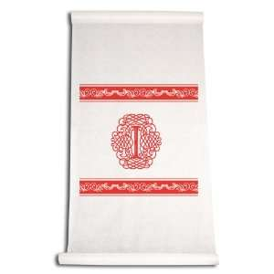 Inch Aisle Runner, Fancy Font Letter I, White with Red: Home & Kitchen