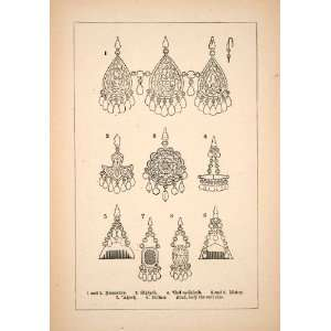1871 Wood Engraving Female Ornaments Jewelry Pearls