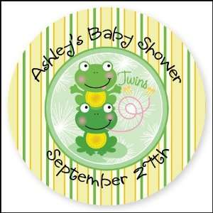 Frogs   24 Round Personalized Baby Shower Sticker Labels Toys & Games