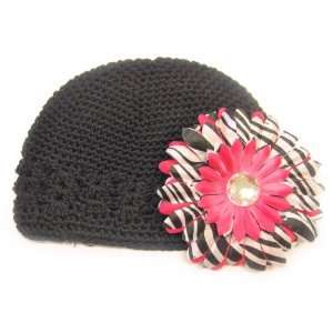Months With a 4 Hot Pink Zebra Print Gerbera Daisy Flower Hair Clip