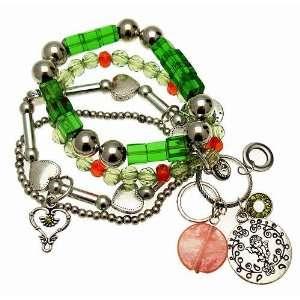 Jewellery   Green Glass & Beads   Cherub & Heart Chunky Charm Bracelet