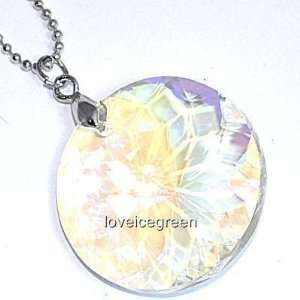 [CN27] Clear Round Crystal Glass Pendant Necklace
