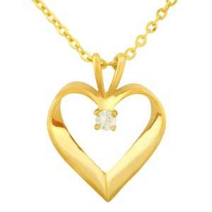 Gold Tone Heart Pendant with Round CZ Stone and 16 Chain with Gift