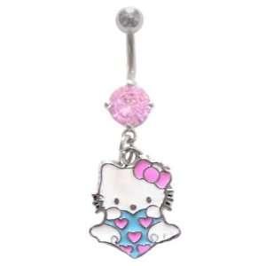 Pink Hello Kitty Aqua Heart w/ Wings & pink hearts dangle Belly navel