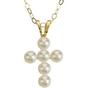 Gold White Freshwater Pearl Cross Pendant Necklace, 15 Ring Chain