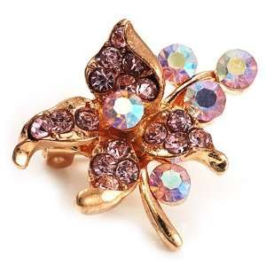 Tiny Light Pink Crystal Flower Pin Brooch (Gold Tone) Jewelry