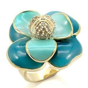 Size 6 Flower Clear Cubic Zirconia Brass Gold Plated Ring AM Jewelry