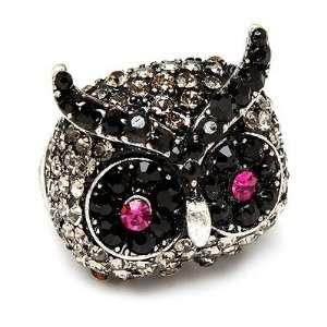 Owl Animal 3D Crystal Rhinestone Stretch Ring Black Jewelry