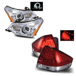 08 11 Ford Focus Chrome CCFL LED Projector Headlights