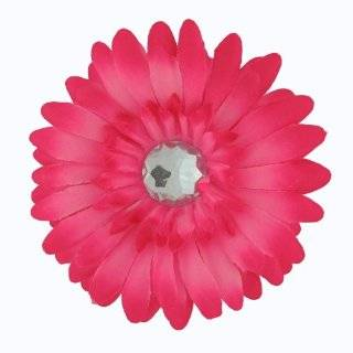 The Trendy Turtle Large Gerber Daisy Flower Hair Clip Bow with Crystal