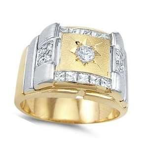 Mens CZ Fashion Ring 14k White Yellow Gold Band Cubic Zirconia 1.00ct