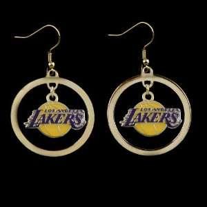 NBA Los Angeles Lakers Floating Logo Hoop Earrings  Sports