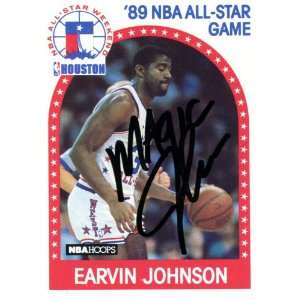 Magic Johnson Autographed 1989 NBA Hoops Card:  Sports