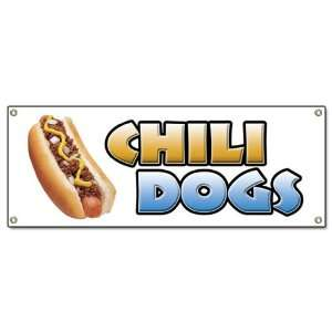 CHILI DOGS BANNER SIGN hot dog cart stand signs: Patio