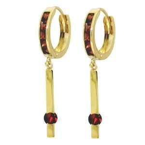 14k Gold Hoop Huggie Earrings with Genuine Dangling Garnets Jewelry