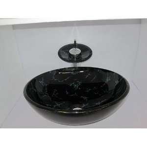 Hand Paint Washbasin Tempered Glass Sink with Match Faucet Ys 4147