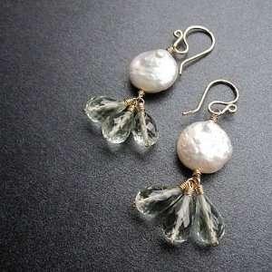 14k Gold Filled Ivory pearls Green Amethyst Earrings Jewelry
