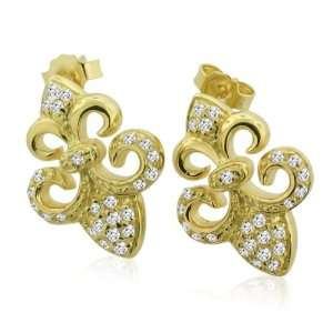 Inspired Sterling Silver CZ Gold Plated Fleur de Lis Earrings Jewelry