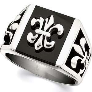 CleverEves Stainless Steel Fleur De Lis Ring With Black Enamel Black