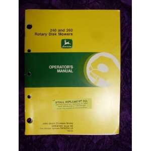 : John Deere 240/260 Disk Mower OEM OEM Owners Manual OME87625: John