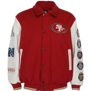 49ers Full Zip Commemorative Wool Varsity Jacket Sports & Outdoors