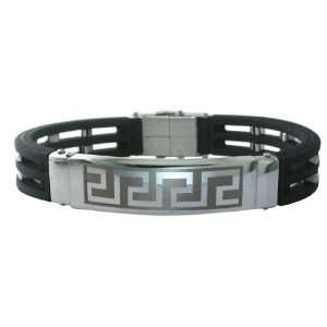 Mens Stainless Steel Rubber Link Bracelet, 8.5 Jewelry