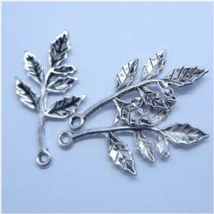 Tibetan silver Branch Leaf Charm Pendant Beads Findings 10Pcs (15mm x