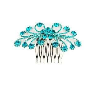 Daisy Flower Burst Blue Zircon Crystal Rhinestone Head Piece Hair Comb