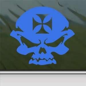 Skull And Iron Cross Motorcycle Bike Helmet Blue Decal