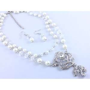 pearls and iced beads with crystal rose necklace