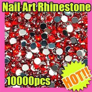 10000 round nail art glitter rhinestone tips red 154