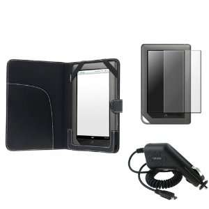 For Nook Color Black Leather Case+LCD Film+Car Charger